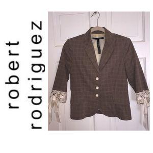 Robert Rodriguez Herringbone Lace Blazer. Size 4